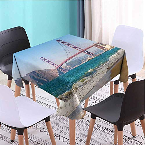VICWOWONE Soft Square Tablecloth Landscape Wrinkle Free (Square,W50 x L50) Panoramic View of Golden Gate Bridge San Francisco Coastline Nature Seascape Blue Turquoise