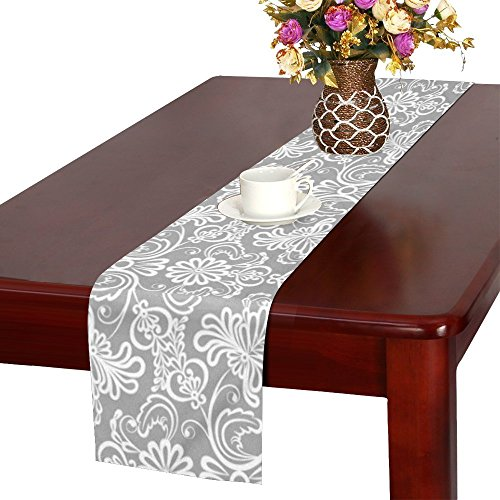 (InterestPrint Table Runner white floral gray Cotton Linen Cloth Home Table Decor Tablecloth 14X72 Inch)