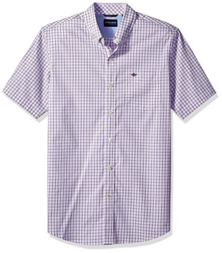 Dockers Men's Short Sleeve Button Down Comfort Flex Shirt, Dehart Grape jam, Medium