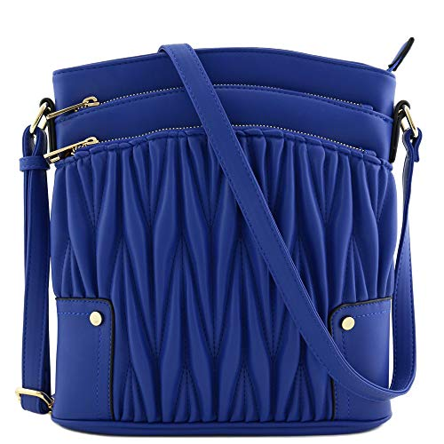 (Triple Zip Pocket Large Crossbody Bag (Quilted Royal Blue) )