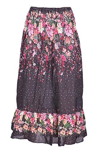 lunghe Alta Gonne Vita fiori donna Con raggazza Donna Guru Colorata estive Etnica Viola Per Estiva Lunga Ragazza Di Nero Panti g48dqw4