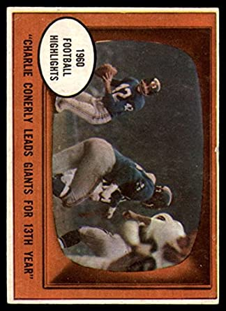 52d15a9b353a7 Amazon.com: Football NFL 1961 Topps #94 Charley Conerly HL VG Very ...