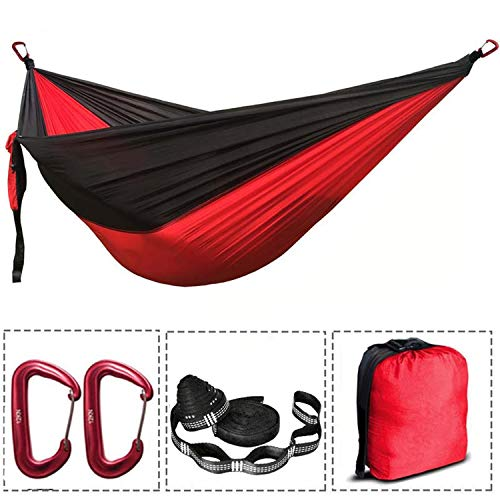 (OASIS LAND Assorted Color Parachute Nylon Hammock Outdoor Camping Hammocks Double Person Portable Swing Hammock,Red and Black)