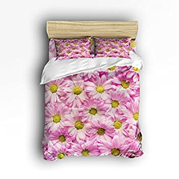 Image of Fantasy Star Pink Chrysanthemum Comforter Bedding Set One Side Print 4 Piece Soft Home Duvet Cover Set, Include 1 Flat Sheet 1 Duvet Cover and 2 Pillow Cases, Twin Size Home and Kitchen