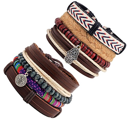 JF.JEWELRY Fatima & St. Benedictine Charms Stackable Braided Leather Cuffs Bracelet for Men 8-PCS Mixed