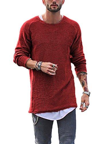 Jumper Lunga A Manica Sottile Basic Pullover Rotondo Felpa Sweater Uomini Simple Casual Tops Autunno Inverno Moda Brickred Collo E Bluse Maglione fashion Maglie HT8wp