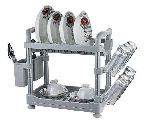 Uniware 2 Tier Aluminum Kitchen Utensils Rack & Shelf Holder