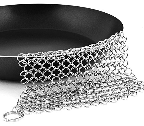 Bestgle Cast Iron Scrubber Cleaner Premium 316 Food Grade Stainless Steel Pan Cleaner, Chain Mail Scrubber, Funny Kitchen Toy, 8X6 Inch XL