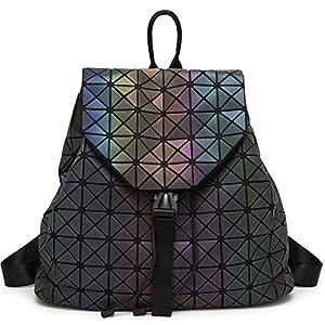 DIOMO Geometric Lingge Laser Women Backpack Luminous Travel Shoulder Bag Satchel Rucksack (Luminous NO.1)