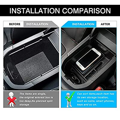 Powerty Storage Box Center Console Organizer Tray Armrest Box Secondary with Card Holder Enough Phone Space for Toyota RAV4 2020 2020 2021Upgraded Version: Automotive