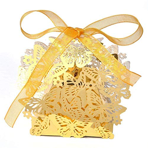 KAZIPA 50PCS Gold Favor Boxes, Butterfly Favor Boxes with Ribbons for Wedding Birthday Party, Gold