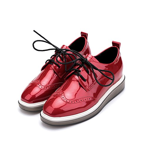 Heel Women's Wingtip Vintage Perforated Glossy T Low Red JULY Platform Shoes Shoes Oxfords Retro z5nYq