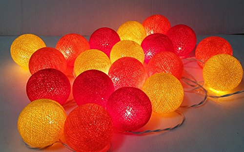 (PNShop String Lights Red Orange Yellow Hot Color Cotton Ball 20 Party Handmade for Kids Room)