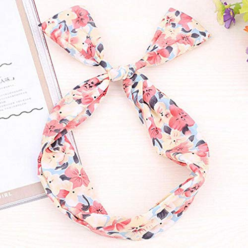 MOPOLIS WIRE HEADBAND RETRO WIRED HEAD SCARF WIRE TWIST KNOT HAIR BAND HEAD WRAP VINTAGE | Main Colour - 15.Pink Large Flower (Cooking With A Brazilian Twist)
