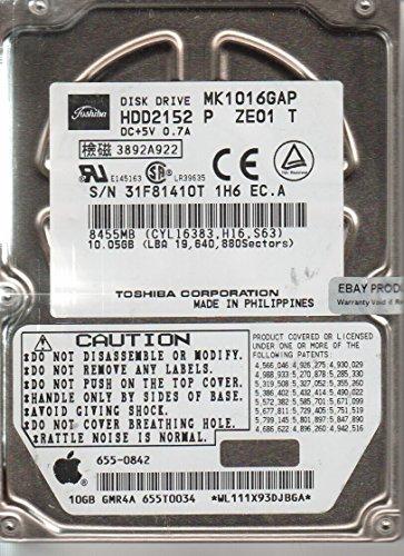 MK1016GAP, E0/U1.13A, HDD2152 P ZE01 T, Toshiba 10GB IDE 2.5 Hard Drive