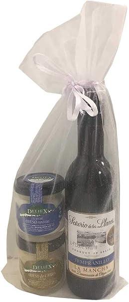 Regalo con botella miniatura de vino Señorío de los Llanos y dos tarritos de queso para celebraciones (Pack 24 ud): Amazon.es: Juguetes y juegos
