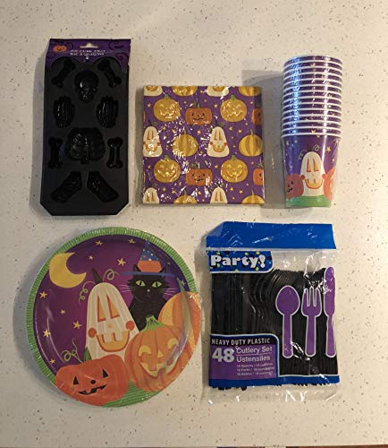 99 Piece Halloween Party Supplies Bundle. Includes Disposable Paper Plates, Knives, Spoons, Forks, Cups Napkins, and ice Tray. Perfect Halloween Party Pack for Spooky Halloween Themed Parties. ()