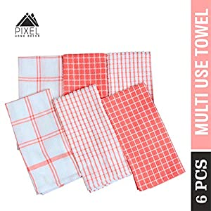 PIXEL HOME GOLDENMARC 6 Pieces Cotton Multi-Purpose Terry and Waffle Dish Cloths Kitchen Wiping Cleaning Towel (Pink)