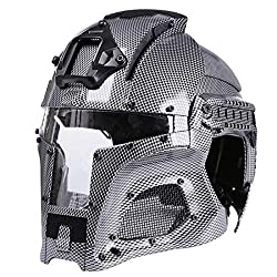 Goshfun Tactical Military Helmet Protective Fast Helmet Full Face Mesh Mask with Goggle for Airsoft Paintball CS Outdoor Activity - CP