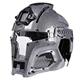 Goshfun Tactical Military Helmet Protective Fast Helmet Full Face Mesh Mask with Goggle for Airsoft Paintball CS Outdoor Activity - Carbon Fiber Color