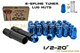 20 Pc 1/2-20'' Blue Tuner 6 Spline Lug Nuts Locking Security Lugs Standard Size Fits Aftermarket Wheel on Jeep Wrangler Liberty Cherokee TJ YJ