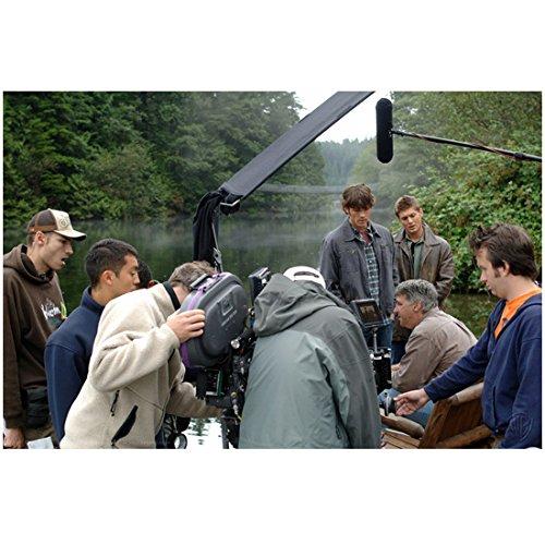 Supernatural (TV Series) 8x10 Photo Season 1 Behind the Scenes Jensen Ackles & Jared Padalecki in Jackets Mist on Water Boom Mic Overhead kn