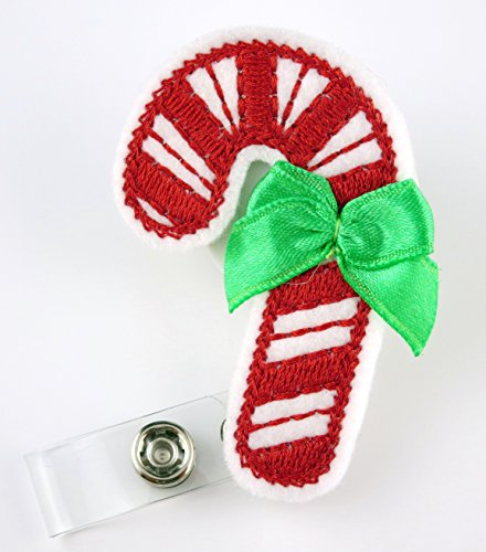 Christmas Candy Cane Felt- Nurse Badge Reel - Retractable ID Badge Holder - Nurse Badge - Badge Clip - Badge Reels - Pediatric - RN - Name Badge Holder