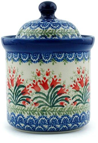 Polish Pottery Jar with Lid 6-inch made by Ceramika Artystyczna (Sprouting Tulips (Tulip Jar)