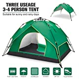 BATTOP 4 Person Family Camping Tent, 3 Usages Double Layer Waterproof Sun Shelter, Automatic Instant Pop Up Tents Outdoor (Blue) (Green)