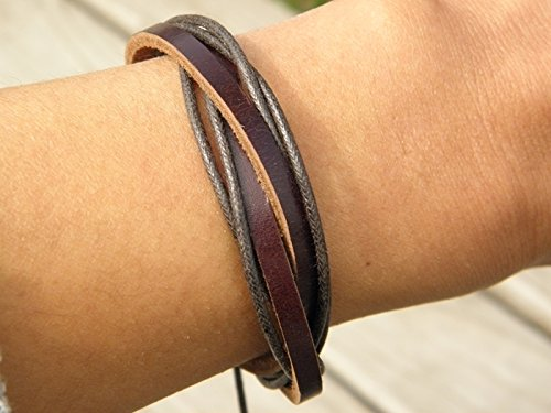 - Hong Bala Pi simply decorated leather retro fashion leather woven bracelet personality national wind