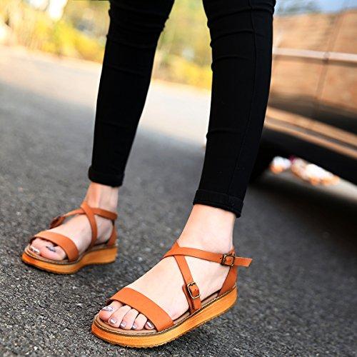 wealsex Sandales Spartiate Femmes Plates Sandales Romaines PU Cuir Bout Ouvert Brides Cheville Boucle Chaussure Eté Confort Mode Grande Taille 40 41 42 43 Brun 2t99QUiop
