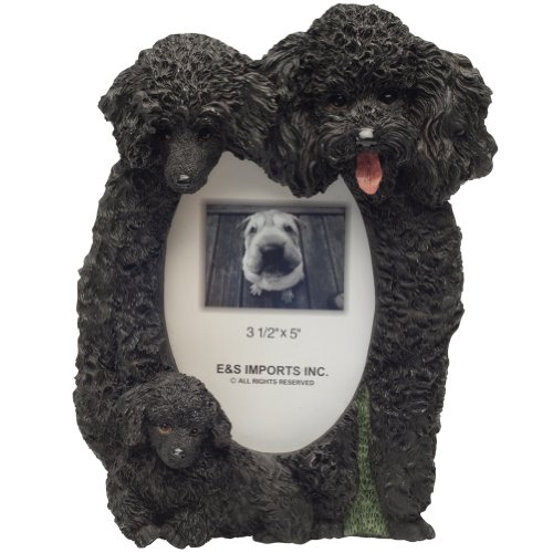 Black Poodle  Picture Frame Holds Your Favorite 3 x 5 Inch Photo,  A Hand Painted Realistic Looking Black Poodle  Family Surrounding  Your Photo. This Beautifully Crafted Frame is A Unique Accent To Any Home or Office. The Black Poodle  Picture Frame Is T by E&S Pets