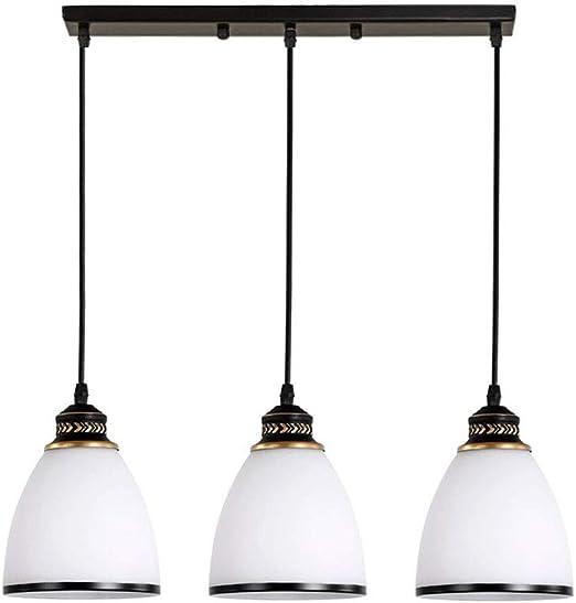 E27 Lámpara colgante Mesa de comedor, lámpara colgante Vintage 3-Flames, Pantalla de vidrio con forma de campana,Lámpara colgante Comedor Lámparas de techo altura ajustable, Escaneo negro oro: Amazon.es: Iluminación
