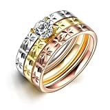 HMILYDYK Stainless Steel Ring Cubis Zirconia CZ Snowflake Engraved Wedding Band 3 Pcs A Set Sizes 6 to 9