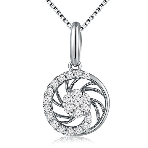 MaBelle 18K White Gold Diamond Accent Halo Circle Pendant w/925 Sterling Silver Necklace (0.19 cttw) (Accent Necklace Diamond Circle)