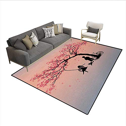 Cherry Outdoor Swing - Carpet,Children Playing on a Tire Swing Under Cherry Tree with Dog Blossom Spring Art,Outdoor Rug,Pink BlackSize:5'x7'