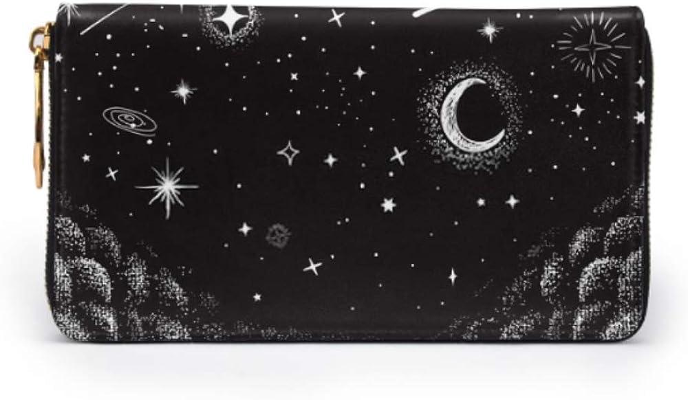 Fashion Handbag Zipper Wallet View Sky Nighttime Drawn Vector Illustration Phone Clutch Purse Evening Clutch Blocking Leather Wallet Multi Card