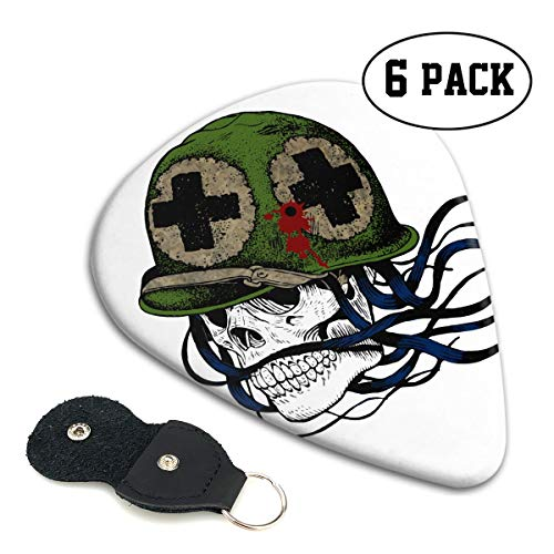 Nice Music Cool Halloween Shotgun Soldier Skull Ultra Thin 0.46 Med 0.71 Thick 0.96mm 4 Pieces Each Base Prime Celluloid Ivory Jazz Mandolin Bass Ukelele Plectrum Guitar Pick Pouch Display ()