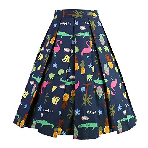 (Dresstore Vintage Pleated Skirt Floral A-line Printed Midi Skirts with Pockets Tropical-Rainforest-S )