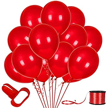 100Pack Red Balloons, 12inch Red Latex Balloons Premium Helium Quality Red Balloons for Party Supplies and Decorations(with Red Ribbon) ...
