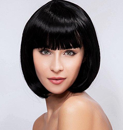 Diy-Wig Women's Fashion Short Black BOB Neat Bang Kanekalon Synthetic Cosplay Hair Full Wigs … by Diy-Wig