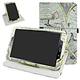 TAB A 10.1 2016 Rotating Case,Mama Mouth 360 Degree Rotary Stand with Cute Cover for 10.1' Samsung Galaxy TAB A 10.1 T580 T585 Android Tablet 2016,Map White