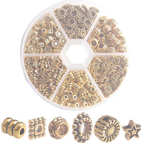 One Box of 480PCS Antiqued Gold Metal Star Tube Square Spacer Beads for Jewelry Making