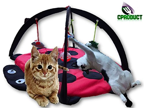 CProduct Cute Activity Center Play Mat with Hanging Mice and Balls Cat ()