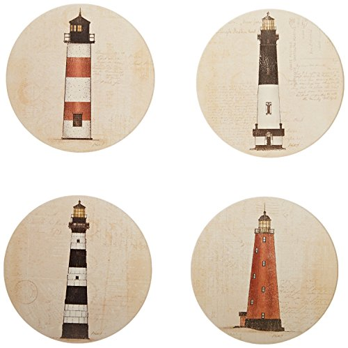 CoasterStone AS10085 Coastal Lights Absorbent Coasters, 4-1/4-Inch, Set of 4