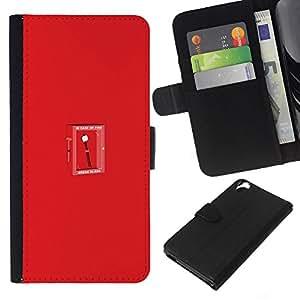 YiPhone /// Tirón de la caja Cartera de cuero con ranuras para tarjetas - Divertido Marshmallow In Case Of Fire - HTC Desire 820