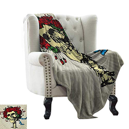 Custom Sofa Bed Throw Blanket Rose,Tattoo Art Style Graphic Skull in Red Flowers Crown Halloween Composition Print,Beige Multicolor Microfiber All Season Blanket for Bed or Couch Multicolor 60