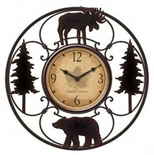 Wildlife Wire Wall Decoractive Clock 11'' Total Diameter, 6'' Clock Diameter