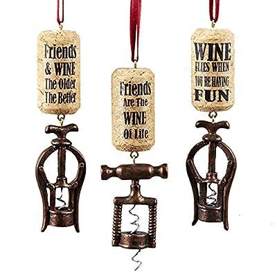 Kurt Adler 1 Set 3 Assorted Wine Corkscrew Resin Ornaments