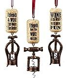 "Kurt Adler 4.25"" Resin Corkscrew Ornament 3/asstd: ""friends Are The Wine OF Life"", ""wine Flies When Youre Having Fun"" & ""friends & Wine The Older The Better""."